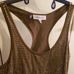Jennifer Lopez Olive and Sparkle Tank Dress, Sz M